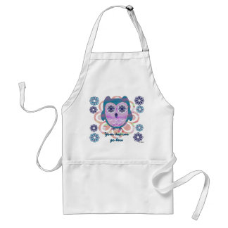 Cute Floral Owl Adult Apron