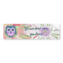 Cute Floral Owl Bumper Sticker