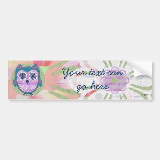 Cute Floral Owl Bumper Sticker