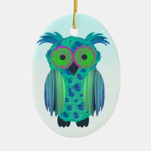Cute Floral Owl Ceramic Ornament