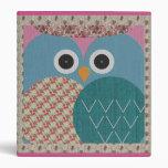 Cute Floral Owl Fabric Design Binder