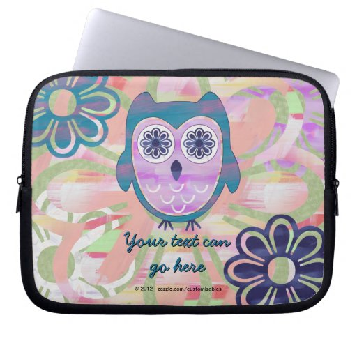 Cute Floral Owl Laptop Computer Sleeve