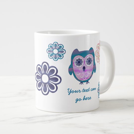 Cute Floral Owl Large Coffee Mug