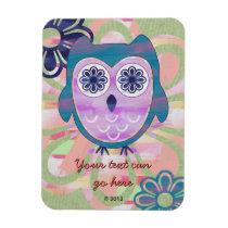 Cute Floral Owl Magnet
