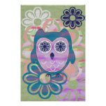 Cute Floral Owl Poster