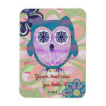Cute Floral Owl Rectangle Magnets