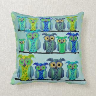 Cute Floral Owls Throw Pillow