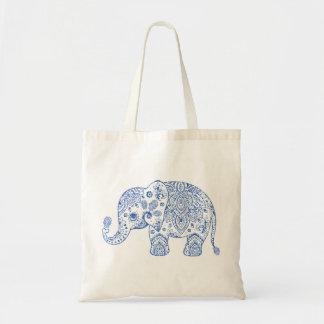 Cute Floral Paisley Elephant Blue Glitter Texture Tote Bag