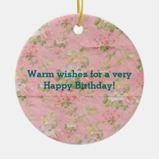 Cute Floral Paper Pattern Happy Birthday Wishes Ceramic Ornament