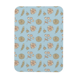 Cute Floral Pattern, Beige And Blue Rectangular Magnets