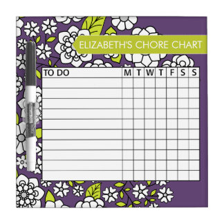 Cute Floral Pattern Chore Chart Dry Erase White Board