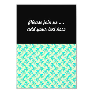 Cute Floral Pattern in Teal and Green 5x7 Paper Invitation Card