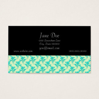 Cute Floral Pattern in Teal and Green Business Card