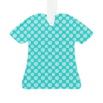Cute Floral Pattern in White and Turquoise Ornament
