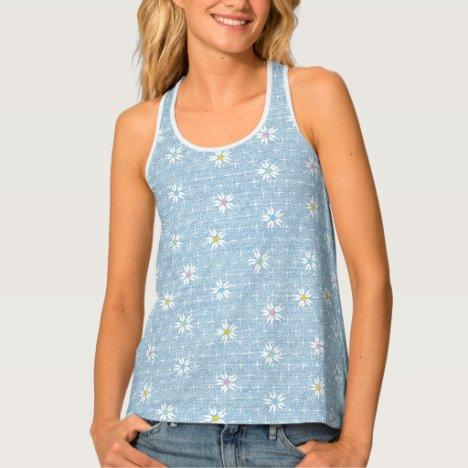Cute floral pattern on light blue denim look tank top
