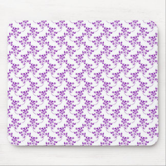 Cute Floral Pattern Purple over White Mouse Pad