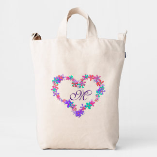 Cute floral personalised monogram, monogram heart duck bag