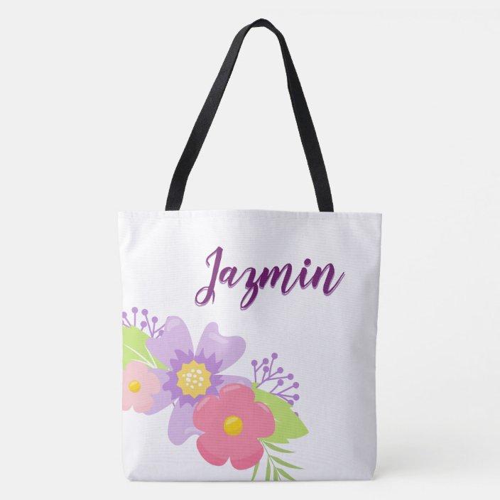 Cute Fl Personalized Tote Bag