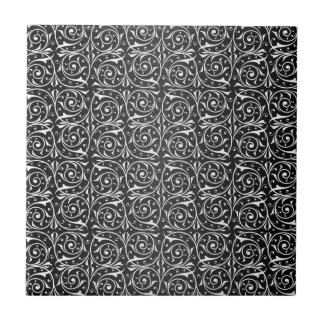 Cute Floral Swirly Pattern Black and White Ceramic Tile