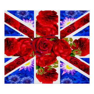 cute floral union jack,the union flag poster
