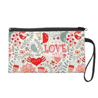 Cute Floral Valentines Design Wristlet Purses