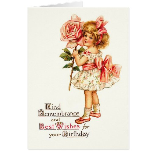 Cute Floral Vintage Birthday Greetings Greeting Card