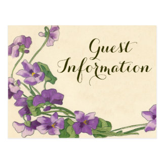 Cute floral wedding guest information postcard