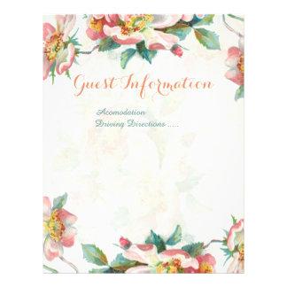 Cute floral wedding information flyer