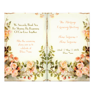 cute floral wedding program,roses flyer