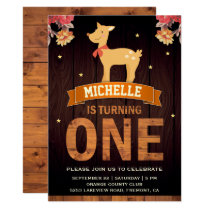 Cute Floral Woodland Deer 1st Birthday Invitation
