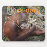 Cute Floss Your Teeth Animal Mouse Pad