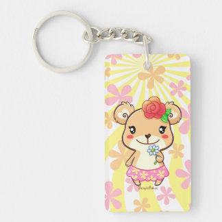 Cute Flower Bear Rectangle Keychain (Single-Sided)