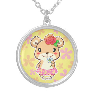 Cute Flower Bear Silver Plated Necklace