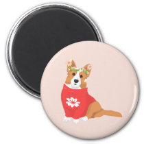 Cute Flower Crown Welsh Cardigan Corgi Magnet