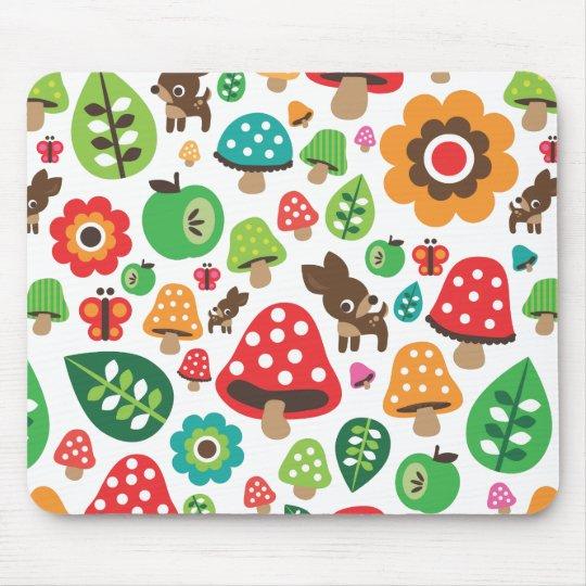 Cute flower deer mushroom pattern mouse pad