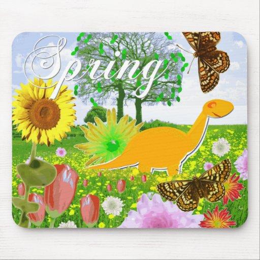 Cute Flower Dinosaur Spring Mousepad