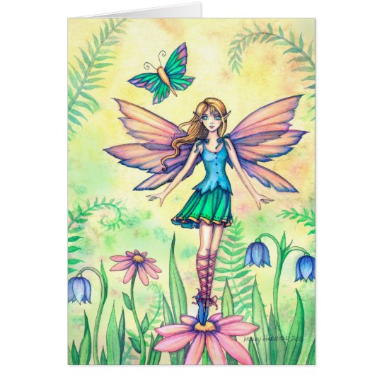 Cute Flower Fairy and Butterfly Watercolor Art Card