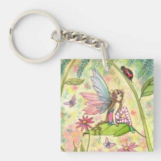 Cute Flower Fairy and Ladybug Fantasy Art Single-Sided Square Acrylic Keychain