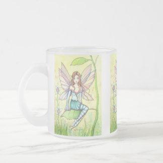 Cute Flower Fairy Fantasy Art Frosted Glass Coffee Mug