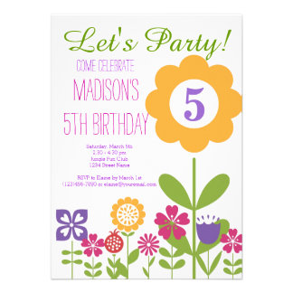Cute Flower Garden Birthday Party Invitations Personalized Invitations