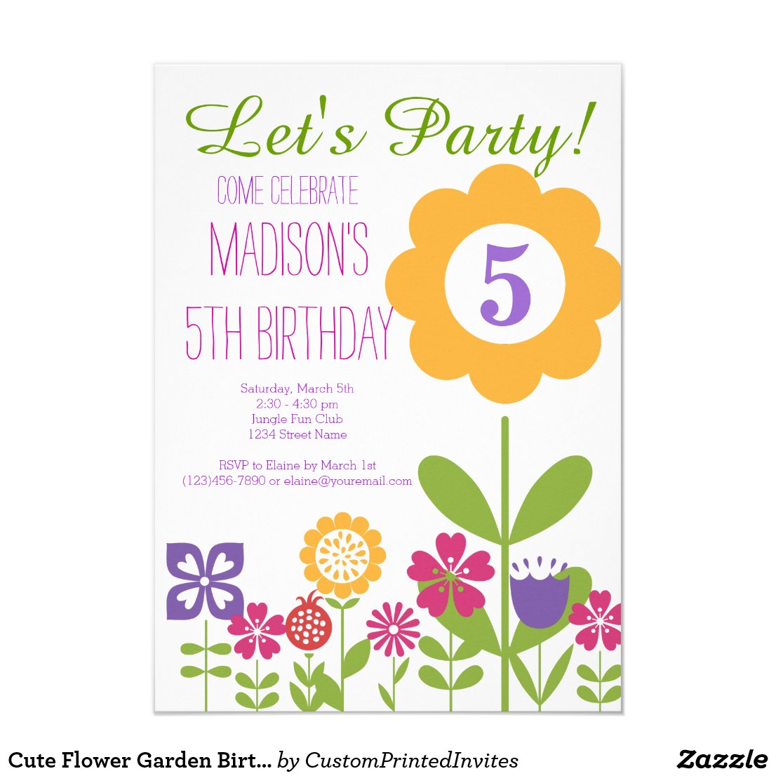 Cute Flower Garden Birthday Party Invitations