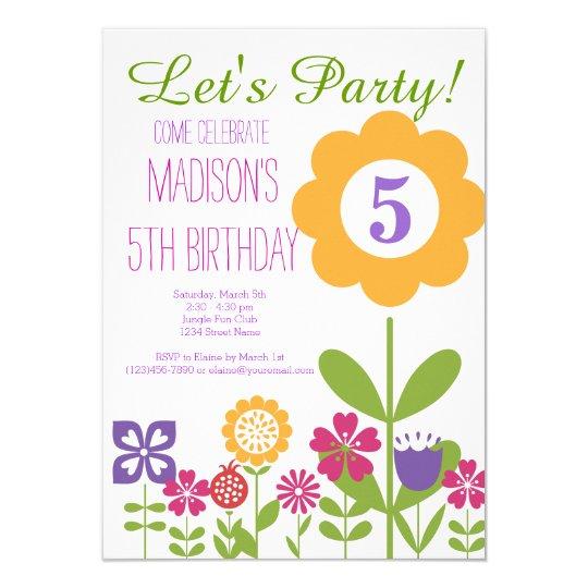 cute flower garden birthday party invitations zazzle com