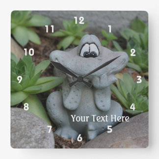 Cute Flower Garden Frog Ornament Square Wall Clock