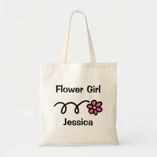 Cute flower girl tote bag with personalized name