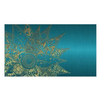 Cute flower henna hand drawn design business card template