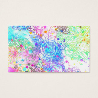 Cute flower henna hand drawn design watercolors business card