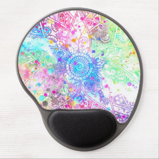 Cute flower henna hand drawn design watercolors gel mouse pad