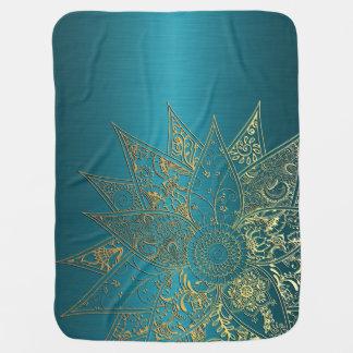 Cute flower henna hand drawn design swaddle blanket