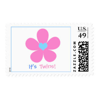 cute flower , It's , Twins! - Postage Stamps