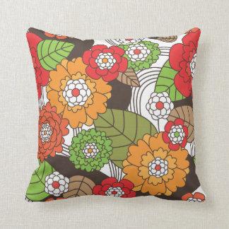 Cute  flower leaf autmn retro pattern throw pillow